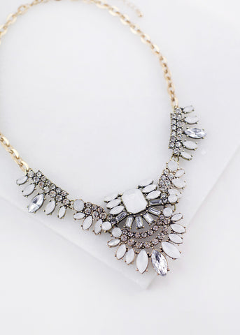 Heather Grey Crystal Detail Statement Necklace