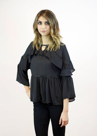 All Over Ruffle Detail Top - Black