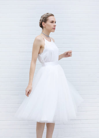 Dreamy Tulle Midi Skirt - White