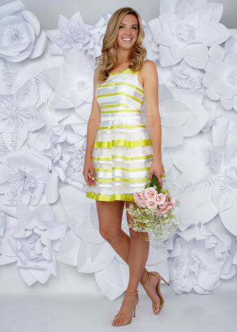 Avery Yellow and White Flare Dress