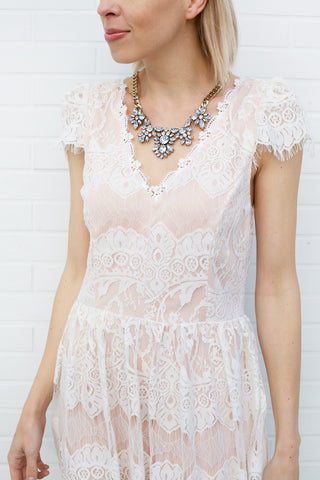 Cap Sleeve Lace Detail Dress - Ivory