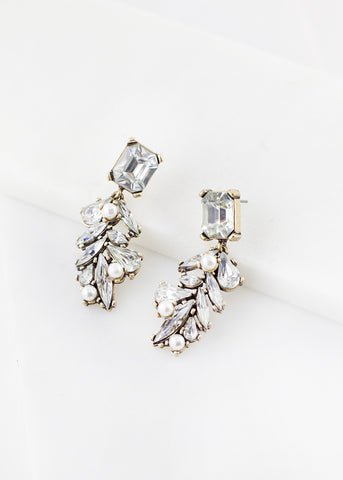 Rectangular Gem Pearl Earrings - Clear