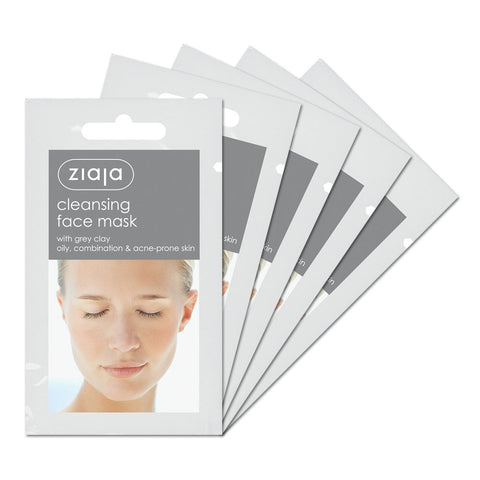 Clay Face Mask - Cleansing with Grey Clay - Pack of 5