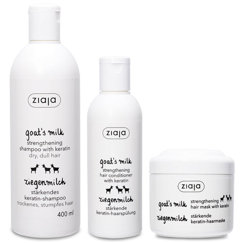 Goat's Milk Hair Care Bundle: Shampoo, Conditioner & Mask