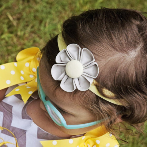 Ash Grey & Butter  Kanzashi Fabric Flower-Available in 4 Styles - Hold It!