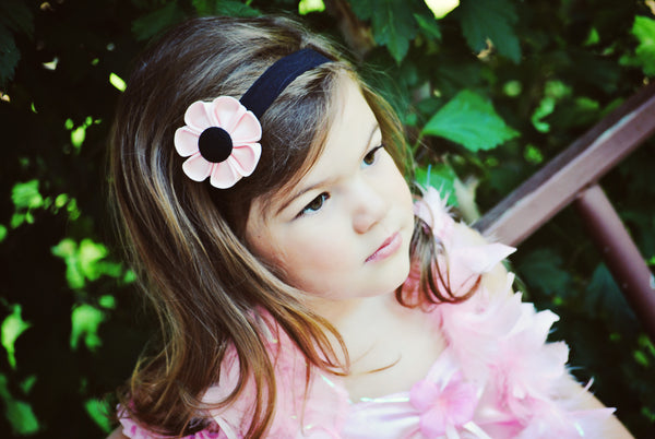 Light Pink & Black  Kanzashi Fabric Flower-Available in 4 Styles - Hold It!