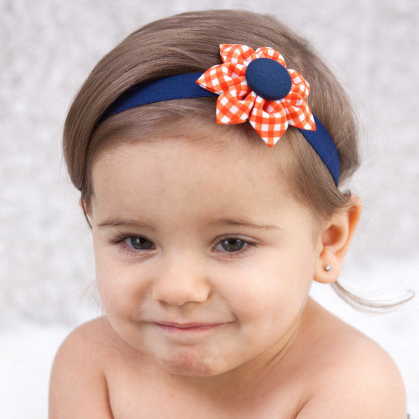 Orange & Navy Blue Gingham Kanzashi Fabric Flower-Available in 4 Styles - Hold It!