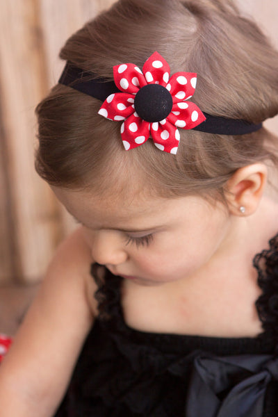 Red & Black Polka Dot Kanzashi Fabric Flower-Available in 4 Styles