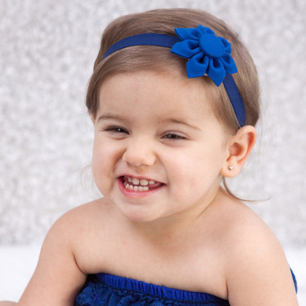 Royal Blue Kanzashi Fabric Flower-Available in 4 Styles - Hold It!