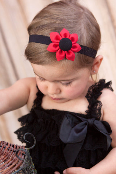 Red & Black Kanzashi Fabric Flower-Available in 4 Styles