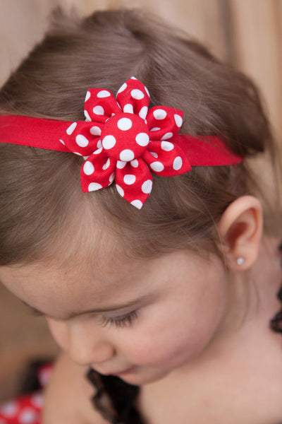 Red & White Polka Dot Kanzashi Fabric Flower-Available in 4 Styles - Hold It!