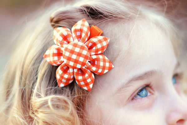 Orange Gingham Kanzashi Fabric Flower-Available in 4 Styles - Hold It!