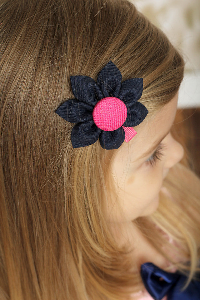 Navy Blue & Hot Pink  Kanzashi Fabric Flower-Available in 4 Styles - Hold It!