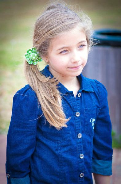 Green & White Polka Dot Kanzashi Fabric Flower-Available in 4 Styles - Hold It!