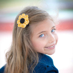 Yellow & Black Gingham Kanzashi Fabric Flower-Available in 4 Styles - Hold It!