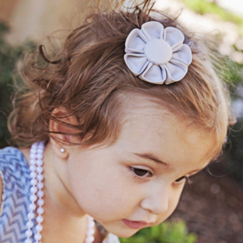 Ash Grey Kanzashi Fabric Flower-Available in 4 Styles - Hold It!