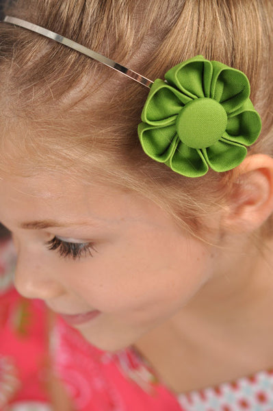 Green Grass Kanzashi Fabric Flower-Available in 4 Styles - Hold It!