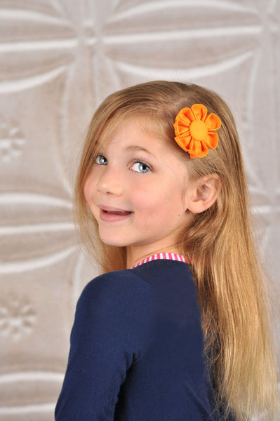 School Bus Orange Kanzashi Fabric Flower-Available in 4 Styles - Hold It!