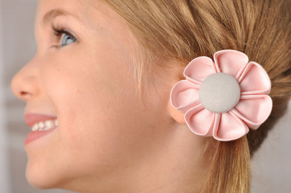 Light Pink & Grey  Kanzashi Fabric Flower-Available in 4 Styles - Hold It!