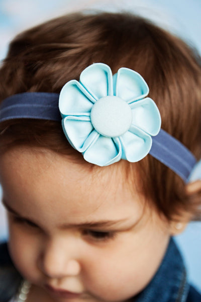 Light Blue Kanzashi Fabric Flower-Available in 4 Styles - Hold It!