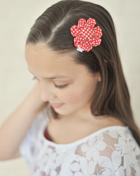 Red Gingham Kanzashi Fabric Flower-Available in 4 Styles - Hold It!