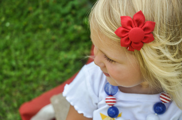 Red Kanzashi Fabric Flower-Available in 4 Styles - Hold It!