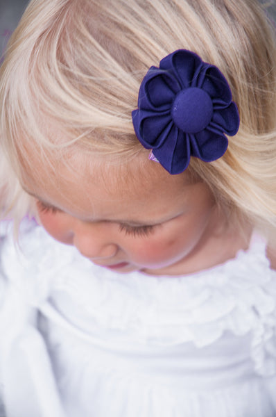 Purple Kanzashi Fabric Flower-Available in 4 Styles - Hold It!