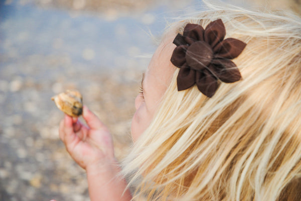 Brown Kanzashi Fabric Flower-Available in 4 Styles - Hold It!