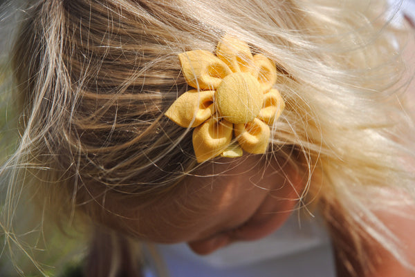 Sunflower Yellow Kanzashi Fabric Flower-Available in 4 Styles - Hold It!