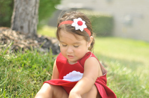 White & Red Kanzashi Fabric Flower-Available in 4 Styles