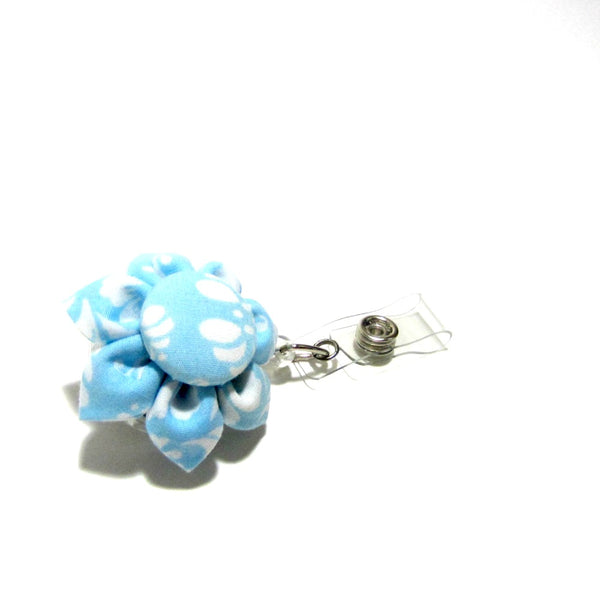 Blue & White Damask Flower Retractable Badge Reel, ID Holder, Lanyard - Hold It!