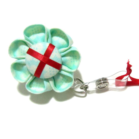 Aqua & Red Damask Flower Retractable Badge Reel, ID Holder, Lanyard - Hold It!