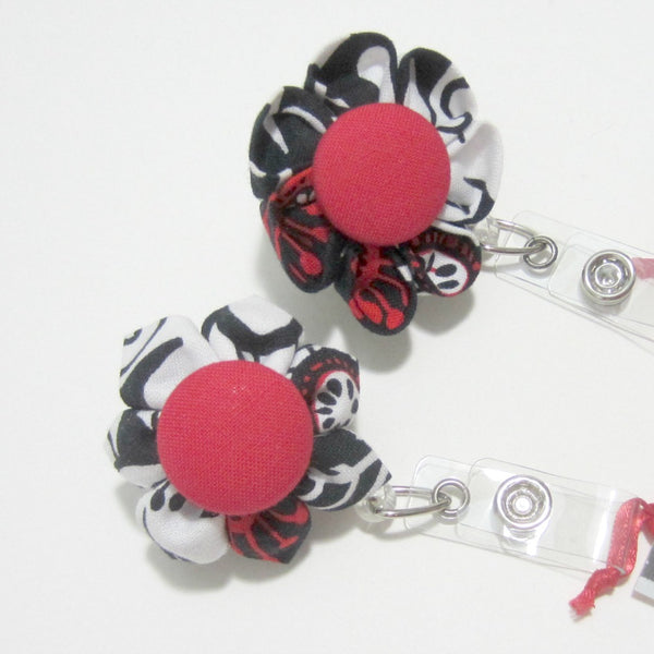 Black, White & Red Zinnia Flower Retractable Badge Reel, ID Holder, Lanyard - Hold It!