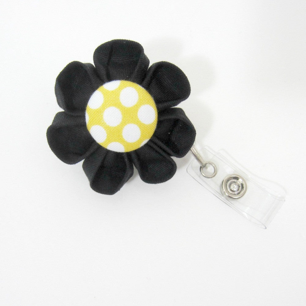 Black & Yellow Polka Dot Flower Retractable Badge Reel, ID Holder, Lanyard - Hold It!