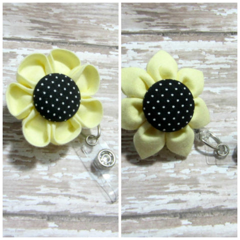 Yellow & Black Dot Flower Retractable Badge Reel, ID Holder, Lanyard