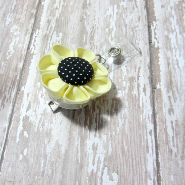 Yellow & Black Dot Flower Retractable Badge Reel, ID Holder, Lanyard - Hold It!