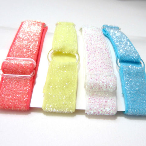 Adjustable Elastic Headband-Set of 4 Coral, Yellow, Iridescent, Blue Frost Glitter