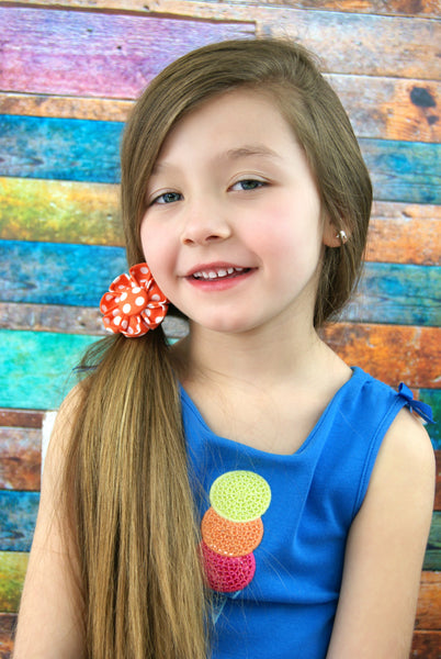 Orange & White Polka Dot Kanzashi Fabric Flower-Available in 4 Styles - Hold It!
