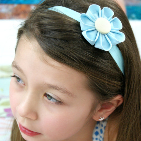 Baby Blue & Yellow  Kanzashi Fabric Flower-Available in 4 Styles - Hold It!