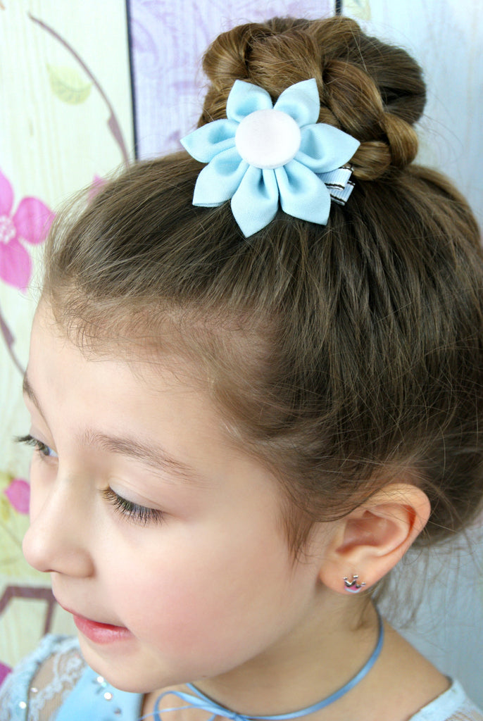 Baby Blue & White  Kanzashi Fabric Flower-Available in 4 Styles - Hold It!