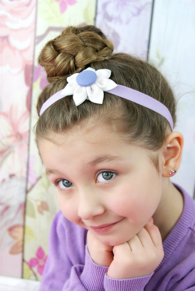 White & Lavender Kanzashi Fabric Flower-Available in 4 Styles - Hold It!