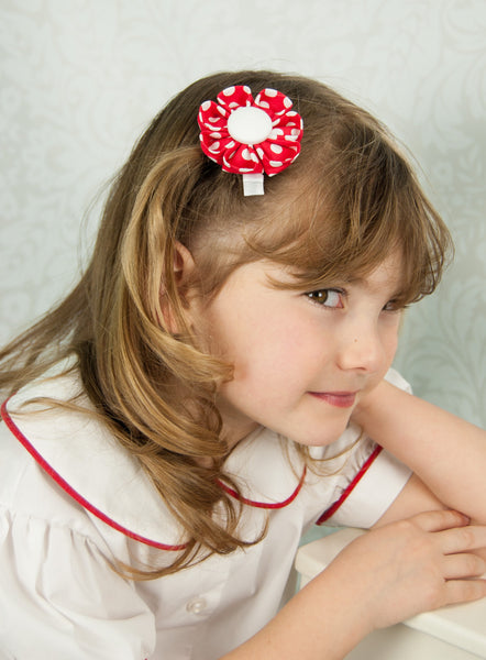 Red & White Polka Dot Kanzashi Fabric Flower-Available in 4 Styles