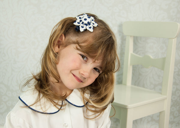 White & Navy Polka Dot Kanzashi Fabric Flower-Available in 4 Styles - Hold It!