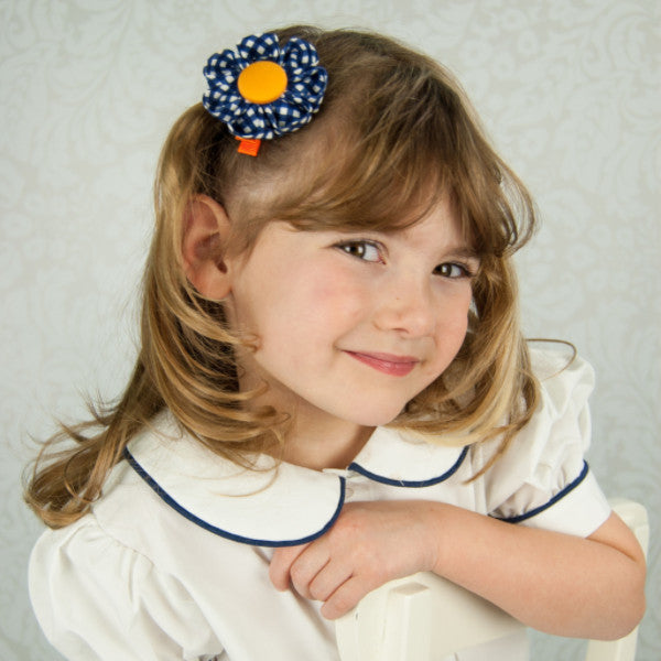 Navy Blue & Orange Gingham Kanzashi Fabric Flower-Available in 4 Styles - Hold It!