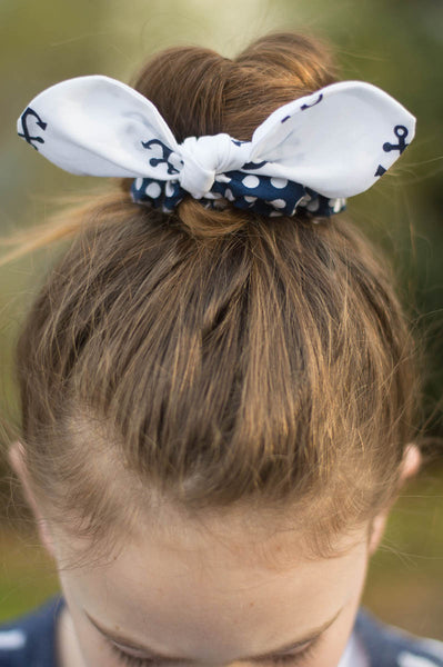 Scrunchies Set of 4 Navy & White Anchors & Polka Dots - Hold It!