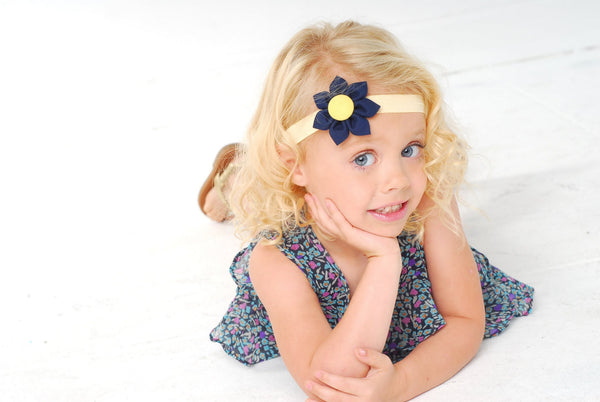 Navy Blue & Yellow  Kanzashi Fabric Flower-Available in 4 Styles - Hold It!