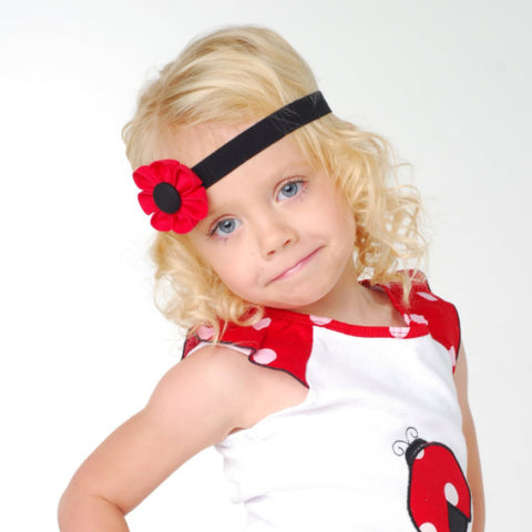 Red & Black Kanzashi Fabric Flower-Available in 4 Styles - Hold It!