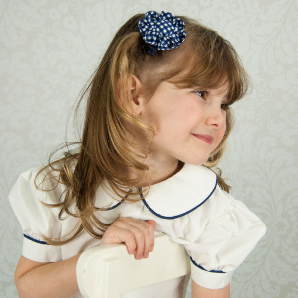 Navy Blue Gingham Kanzashi Fabric Flower-Available in 4 Styles - Hold It!