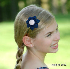 Navy Blue & Light Pink  Kanzashi Fabric Flower-Available in 4 Styles - Hold It!