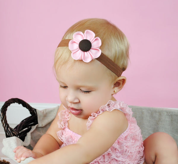 Light Pink & Brown  Kanzashi Fabric Flower-Available in 4 Styles - Hold It!